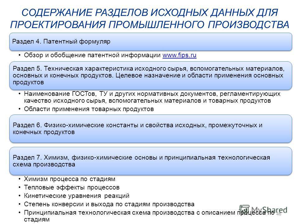 Раздел 4. Патентный формуляр Обзор и обобщение патентной информации www.fips.ruwww.fips.ru Раздел 5. Техническая характеристика исходного сырья, вспомогательных материалов, основных и конечных продуктов. Целевое назначение и области применения основн