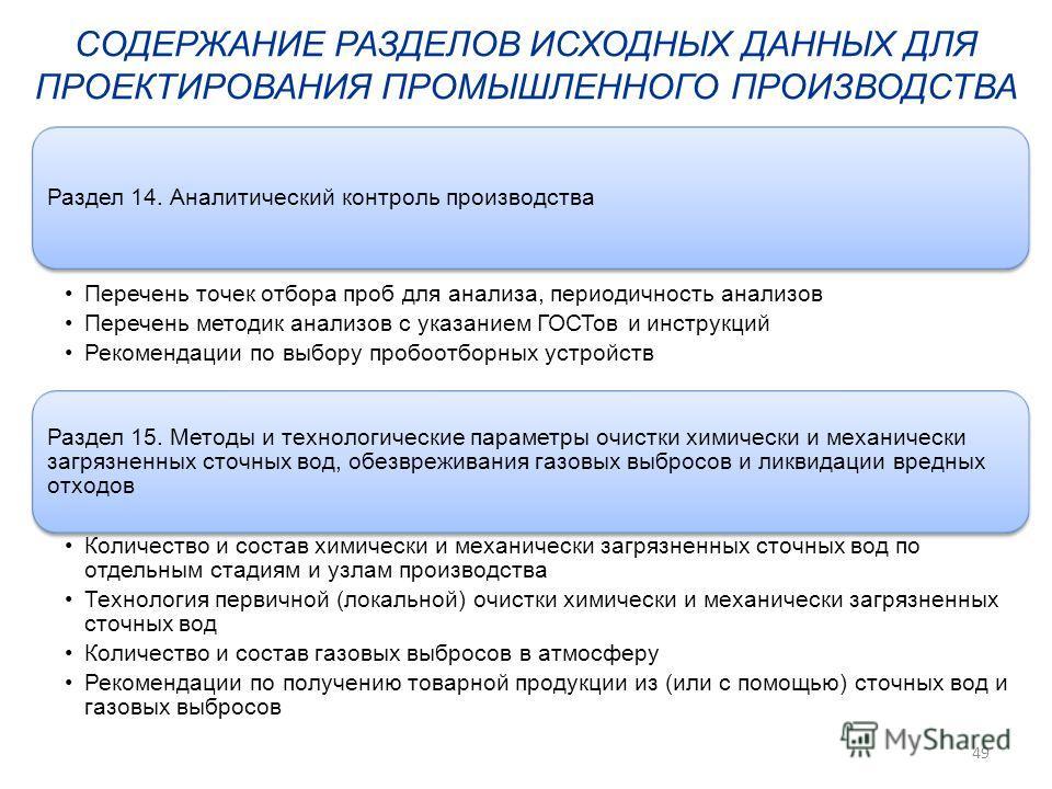 Раздел 14. Аналитический контроль производства Перечень точек отбора проб для анализа, периодичность анализов Перечень методик анализов с указанием ГОСТов и инструкций Рекомендации по выбору пробоотборных устройств Раздел 15. Методы и технологические