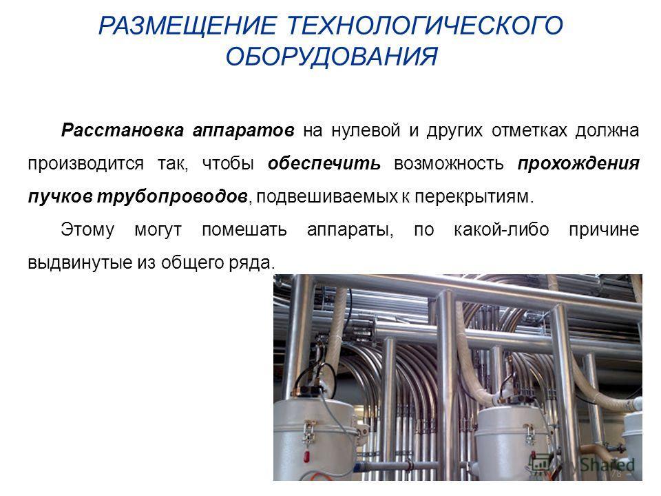 РАЗМЕЩЕНИЕ ТЕХНОЛОГИЧЕСКОГО ОБОРУДОВАНИЯ Расстановка аппаратов на нулевой и других отметках должна производится так, чтобы обеспечить возможность прохождения пучков трубопроводов, подвешиваемых к перекрытиям. Этому могут помешать аппараты, по какой-л