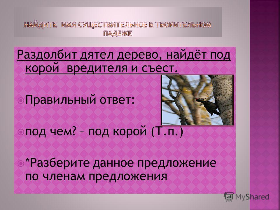 Раздолбит дятел дерево, найдёт под корой вредителя и съест. Правильный отвебт: под чем? – под корой (Т.п.) *Разберите данное предложение по членам предложения