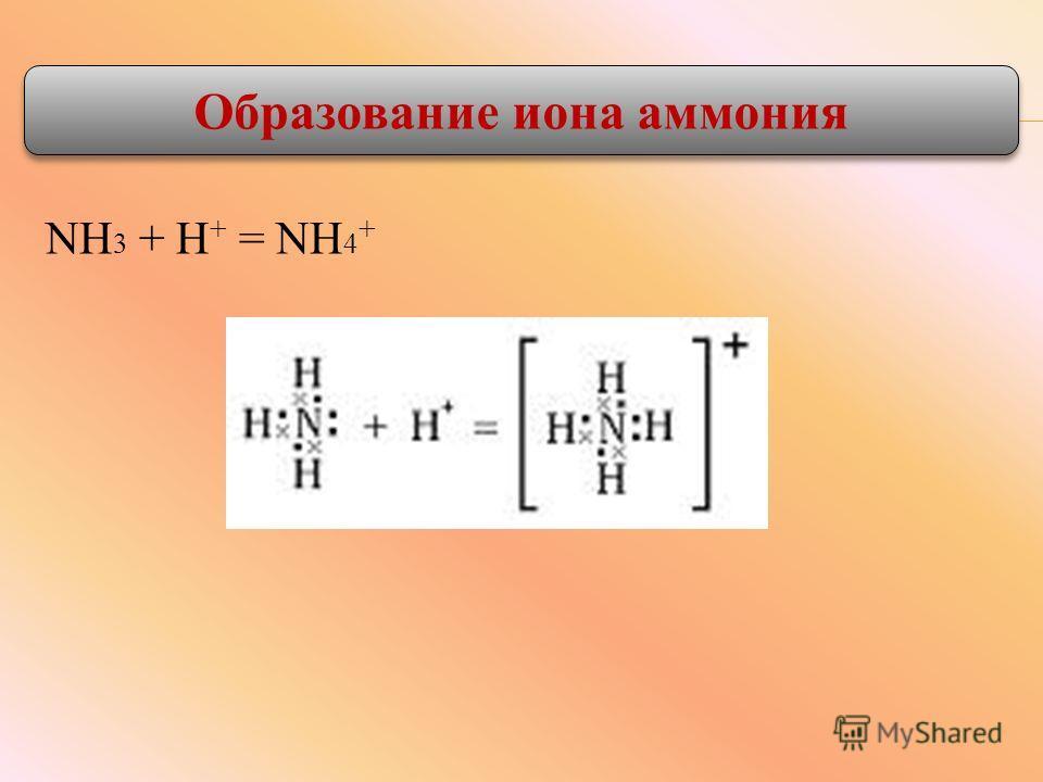 NH 3 + H + = NH 4 + Образование иона аммония