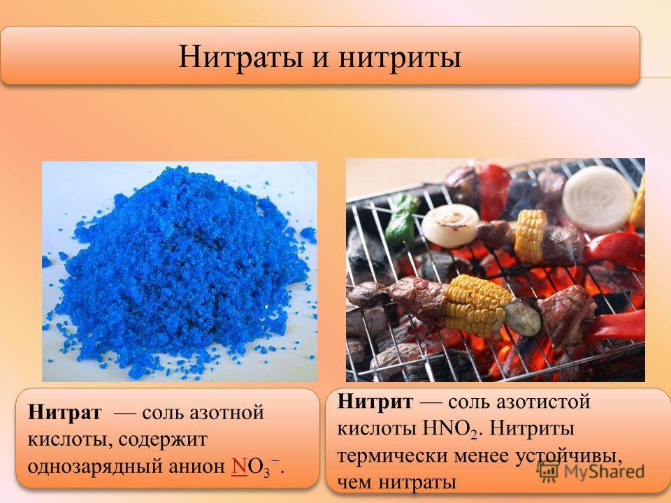Нитраты и нитриты Нитрат соль азотной кислоты, содержит однозарядный анион NO 3. N Нитрат соль азотной кислоты, содержит однозарядный анион NO 3. N Нитрит соль азотистой кислоты HNO 2. Нитриты термически менее устойчивы, чем нитраты