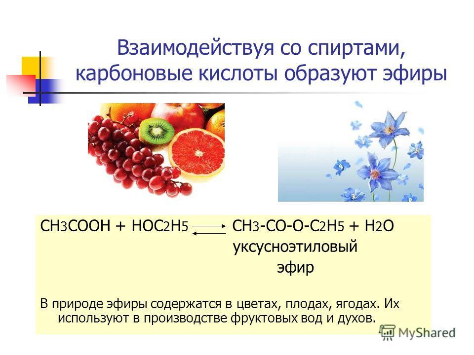 Взаимодействуя со спиртами, карбоновые кислоты образуют эфиры CH 3 COOH + HOC 2 H 5 CH 3 -CO-O-C 2 H 5 + H 2 O уксусноэтиловый эфир В природе эфиры содержатся в цветах, плодах, ягодах. Их используют в производстве фруктовых вод и духов.