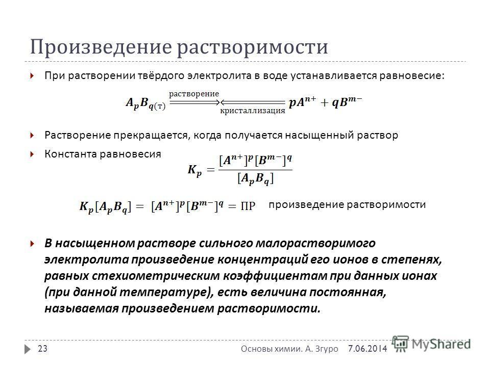 Произведение растворимости При растворении твёрдого электролита в воде устанавливается равновесие : Растворение прекращается, когда получается насыщенный раствор Константа равновесия произведение растворимости В насыщенном растворе сильного малораств