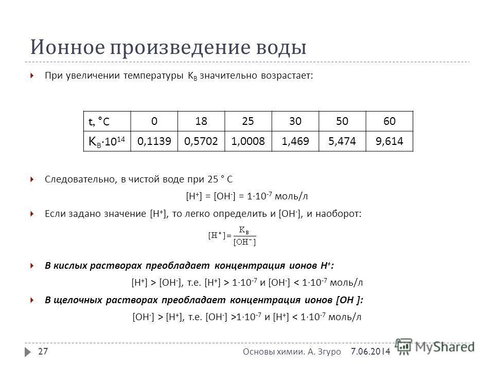 Ионное произведение воды При увеличении температуры K В значительно возрастает : Следовательно, в чистой воде при 25 ° С [H + ] = [OH - ] = 1·10 -7 моль / л Если задано значение [H + ], то легко определить и [OH - ], и наоборот : В кислых растворах п