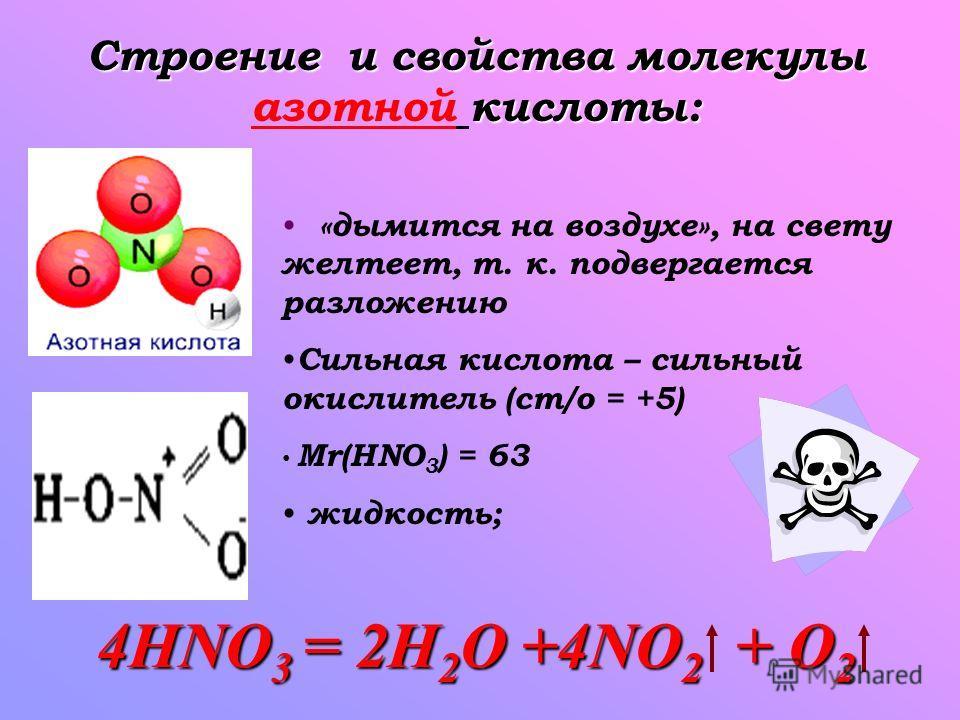 Строение и свойства молекулы кислоты: Строение и свойства молекулы азотной кислоты: «дымится на воздухе», на свету желтеет, т. к. подвергается разложению Сильная кислота – сильный окислитель (ст/о = +5) Mr(HNO 3 ) = 63 жидкость; 4HNO 3 = 2H 2 O +4NO