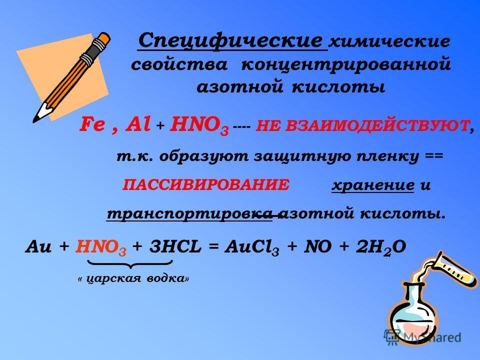 Специфические химические свойства концентрированной азотной кислоты Fe, Al + HNO 3 ---- НЕ ВЗАИМОДЕЙСТВУЮТ, т.к. образуют защитную пленку == ПАССИВИРОВАНИЕ хранение и транспортировка азотной кислоты. Au + HNO 3 + 3HCL = AuCl 3 + NO + 2H 2 O « царская
