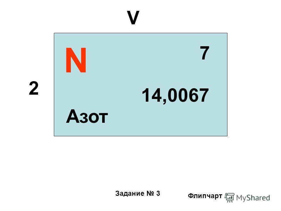 Задание 3 N 7 2 V Азот 14,0067 Флипчарт