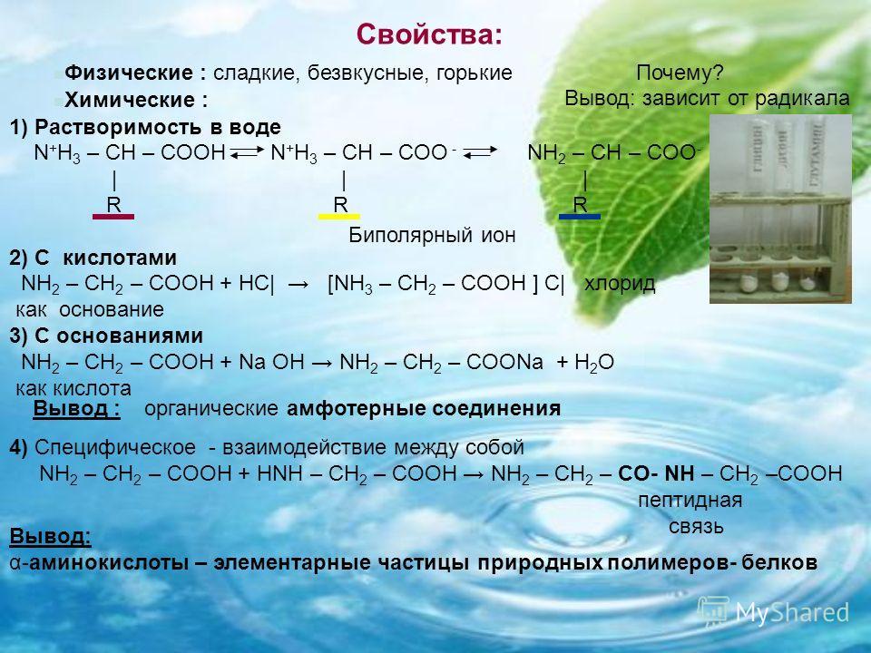 Свойства: 1) Растворимость в воде N + H 3 – CH – COOH N + H 3 – CH – COO - NH 2 – CH – COO - | | | R R R 2) С кислотами NH 2 – CH 2 – COOH + НС| [NH 3 – CH 2 – COOH ] С| хлорид как основание 3) С основаниями NH 2 – CH 2 – COOH + Na OH NH 2 – CH 2 – C