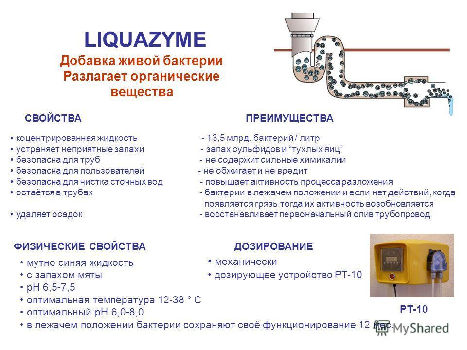 LIQUAZYME Добавка живой бактерии Разлагает органические вещества СВОЙСТВА концентрированная жидкость - 13,5 млрд. бактерий / литр устраняет неприятные запахи - запах сульфидов и тухлых яиц безопасна для труб - не содержит сильные химикалии безопасна