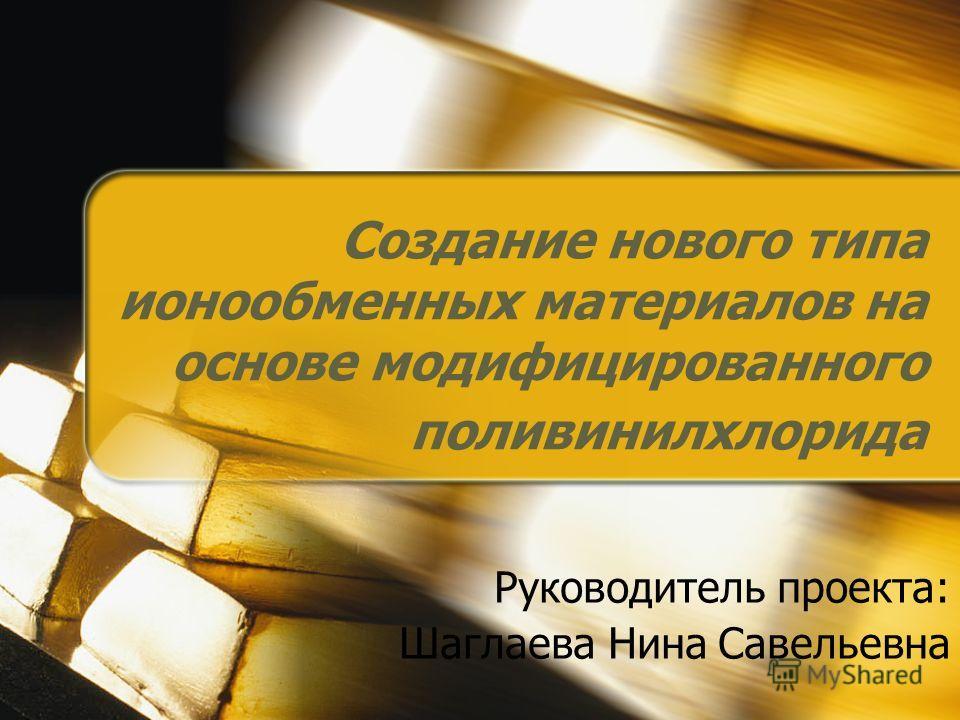 Создание нового типа ионообменных материалов на основе модифицированного поливинилхлорида Руководитель проекта: Шаглаева Нина Савельевна