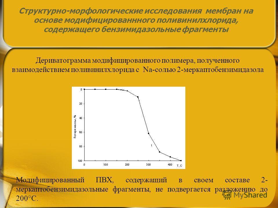 Модифицированный ПВХ, содержащий в своем составе 2- меркаптобензимидазольные фрагменты, не подвергается разложению до 200°С. Дериватограмма модифицированного полимера, полученного взаимодействием поливинилхлорида с Nа-солью 2-меркаптобензимидазола Ст
