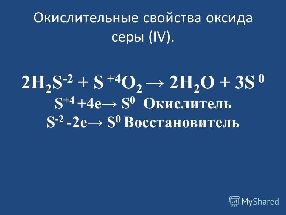 Окислительные свойства оксида серы (IV). 2H 2 S -2 + S +4 O 2 2H 2 O + 3S 0 S +4 +4 е S 0 Окислитель S -2 -2 е S 0 Восстановитель