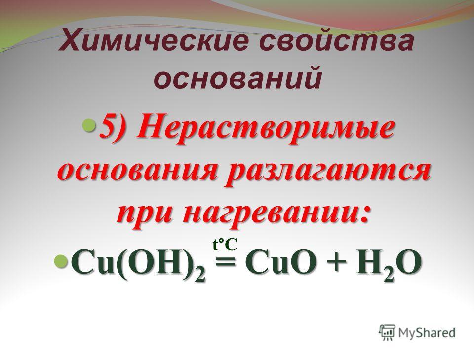 Химические свойства оснований 5) Нерастворимые основания разлагаются при нагревании: 5) Нерастворимые основания разлагаются при нагревании: Cu(OH) 2 = CuO + H 2 O Cu(OH) 2 = CuO + H 2 O t°C