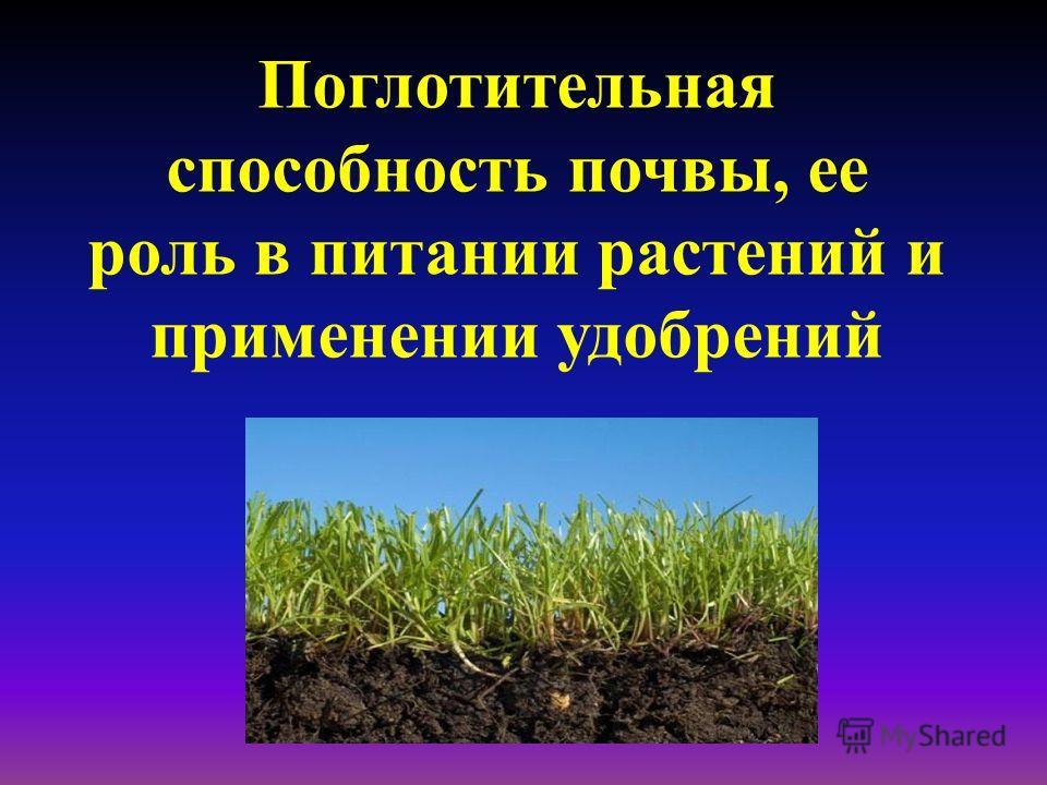 Поглотительная способность почвы, ее роль в питании растений и применении удобрений