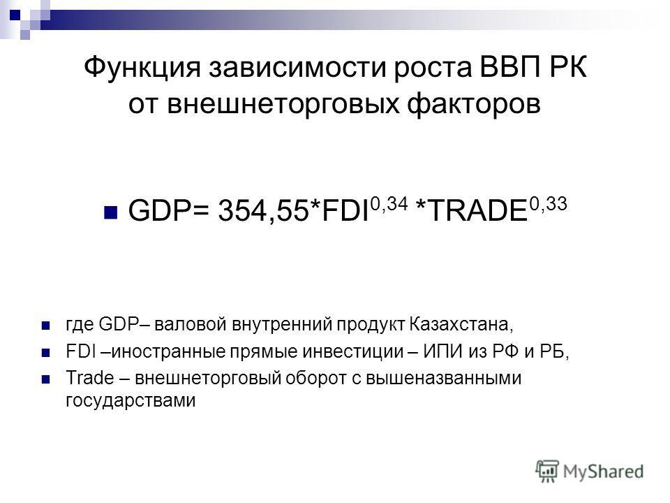 Функция зависимости роста ВВП РК от внешнеторговых факторов GDP= 354,55*FDI 0,34 *TRADE 0,33 где GDP– валовой внутренний продукт Казахстана, FDI –иностранные прямые инвестиции – ИПИ из РФ и РБ, Trade – внешнеторговый оборот с вышеназванными государст