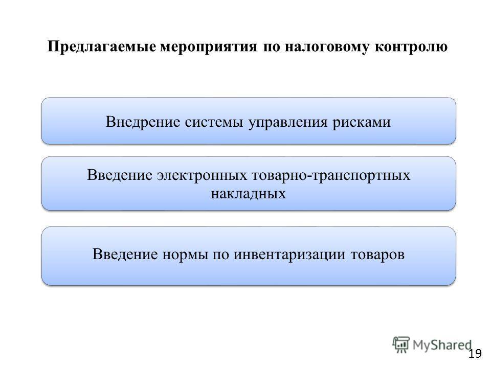 Предлагаемые мероприятия по налоговому контролю Внедрение системы управления рисками Введение электронных товарно-транспортных накладных Введение нормы по инвентаризации товаров 19