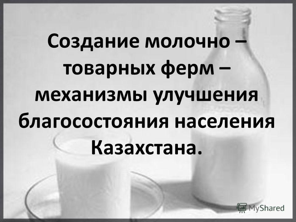 Создание молочно – товарных ферм – механизмы улучшения благосостояния населения Казахстана.