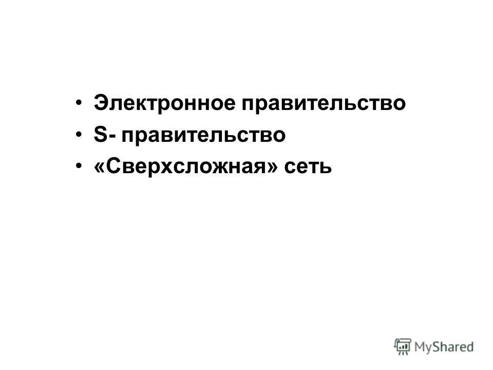 Электронное правительство S- правительство «Сверхсложная» сеть