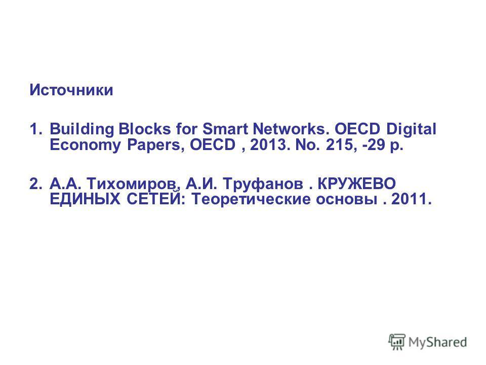 Источники 1. Building Blocks for Smart Networks. OECD Digital Economy Papers, OECD, 2013. No. 215, -29 p. 2.А.А. Тихомиров, А.И. Труфанов. КРУЖЕВО ЕДИНЫХ СЕТЕЙ: Теоретические основы. 2011.