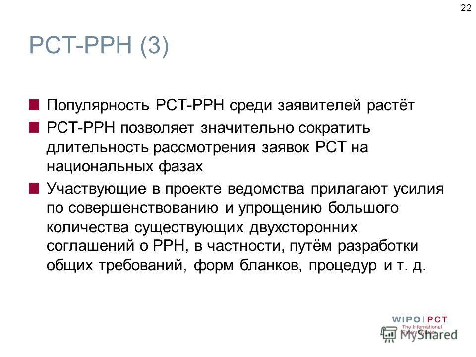 22 PCT-PPH (3) Популярность РСТ-РРН среди заявителей растёт РСТ-РРН позволяет значительно сократить длительность рассмотрения заявок РСТ на национальных фазах Участвующие в проекте ведомства прилагают усилия по совершенствованию и упрощению большого
