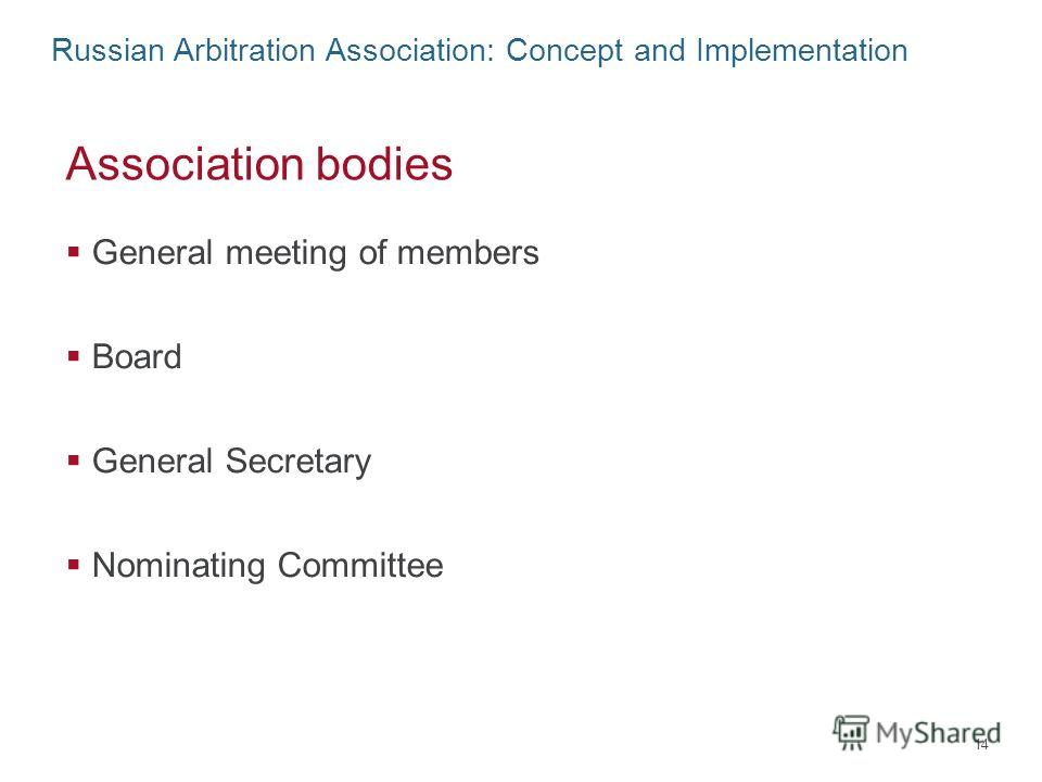 Russian Arbitration Association: Concept and Implementation Association bodies General meeting of members Board General Secretary Nominating Committee 14