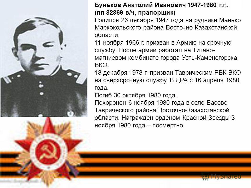 Буньков Анатолий Иванович 1947-1980 г.г., (пп 82869 в/ч, прапорщик) Родился 26 декабря 1947 года на руднике Манько Маркокольского района Восточно-Казахстанской области. 11 ноября 1966 г. призван в Армию на срочную службу. После армии работал на Титан
