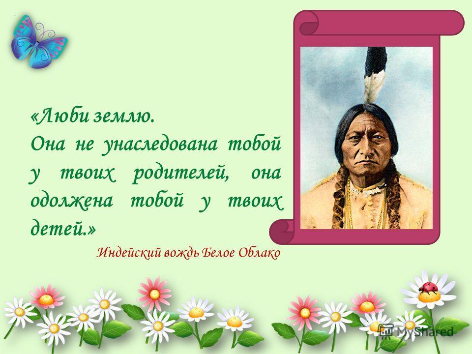 «Люби землю. Она не унаследована тобой у твоих родителей, она одолжена тобой у твоих детей.» Индейский вождь Белое Облако