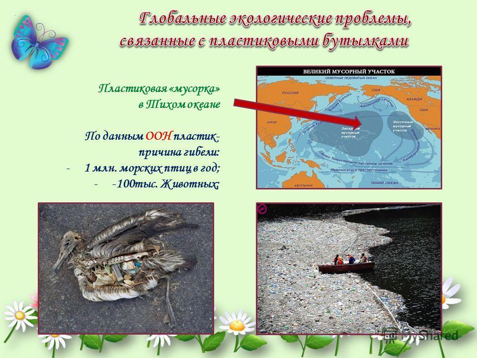 Пластиковая «мусорка» в Тихом океане По данным ООН пластик- причина гибели: -1 млн. морских птиц в год; --100 тыс. Животных;