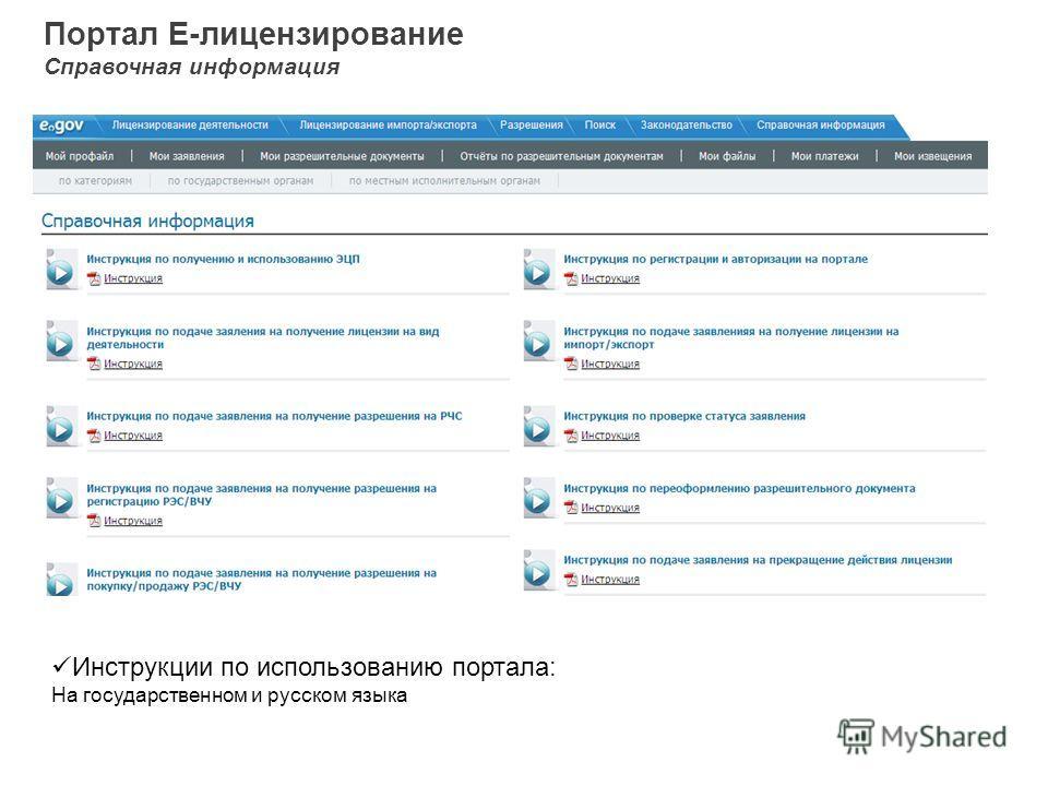 Портал Е-лицензирование Справочная информация Инструкции по использованию портала: На государственном и русском языка