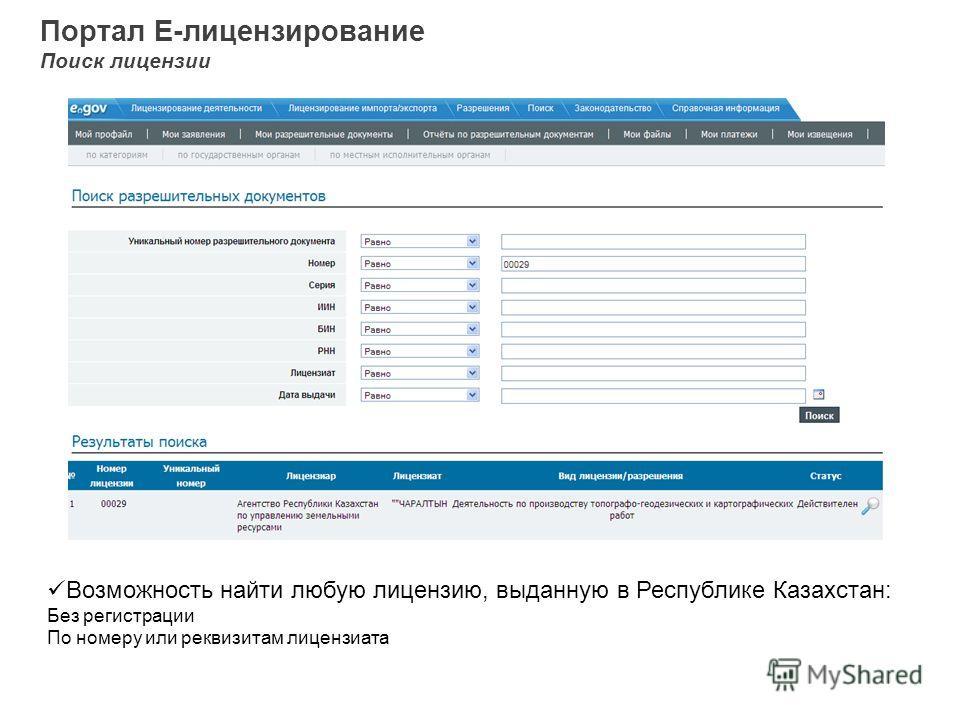 Портал Е-лицензирование Поиск лицензии Возможность найти любую лицензию, выданную в Республике Казахстан: Без регистрации По номеру или реквизитам лицензиата