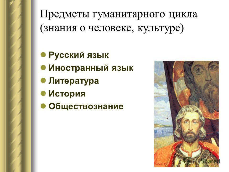 Предметы гуманитарного цикла (знания о человеке, культуре) Русский язык Иностранный язык Литература История Обществознание