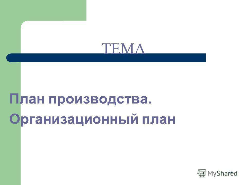24 План производства. Организационный план ТЕМА