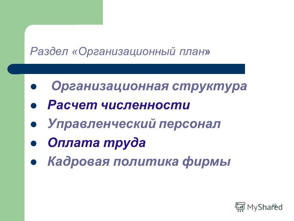 66 Раздел «Организационный план» Организационная структура Расчет численности Управленческий персонал Оплата труда Кадровая политика фирмы