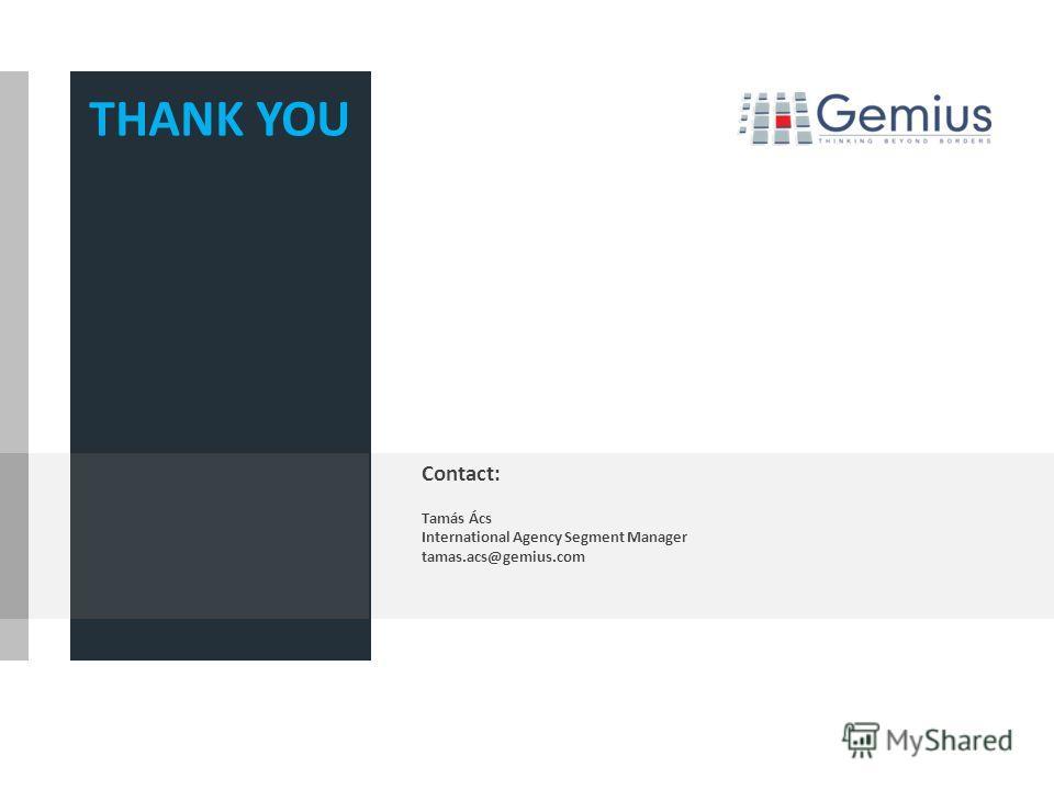 THANK YOU Contact: Tamás Ács International Agency Segment Manager tamas.acs@gemius.com