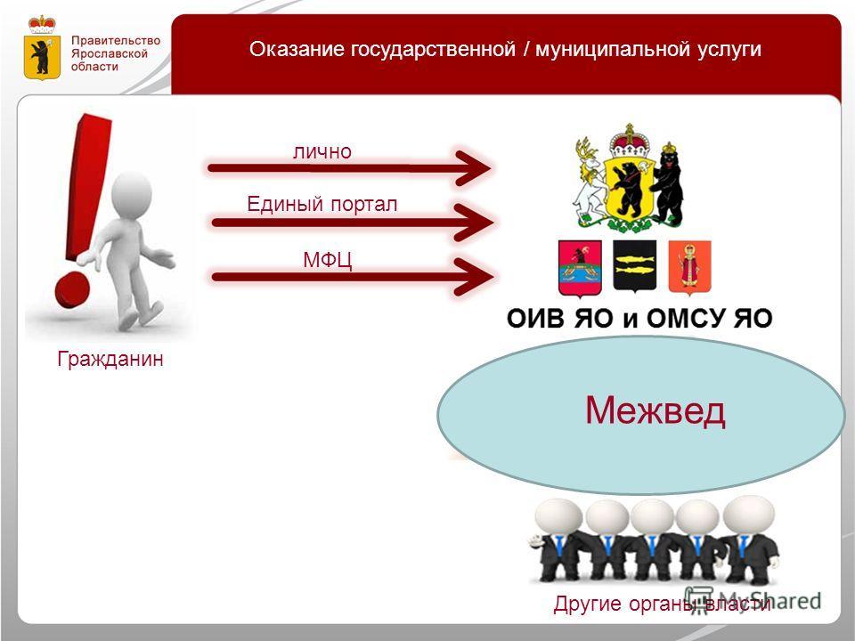 Оказание государственной / муниципальной услуги Единый портал лично МФЦ Гражданин Другие органы власти Межвед