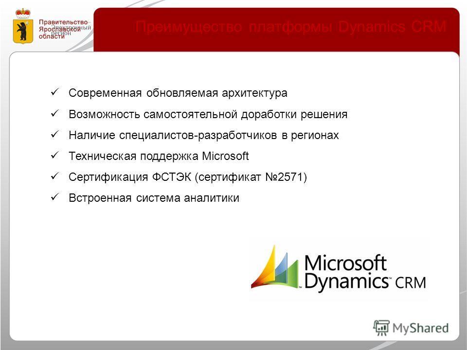 Преимущество платформы Dynamics CRM Современная обновляемая архитектура Возможность самостоятельной доработки решения Наличие специалистов-разработчиков в регионах Техническая поддержка Microsoft Сертификация ФСТЭК (сертификат 2571) Встроенная систем