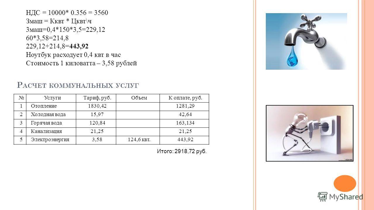 Р АСЧЕТ КОММУНАЛЬНЫХ УСЛУГ НДС = 10000* 0.356 = 3560 Змаш = Кквт * Цквт\ч 3 маш=0,4*150*3,5=229,12 60*3,58=214,8 229,12+214,8=443,92 Ноутбук расходует 0,4 квт в час Стоимость 1 киловатта – 3,58 рублей Услуги Тариф, руб.ОбъемК оплате, руб. 1Отопление