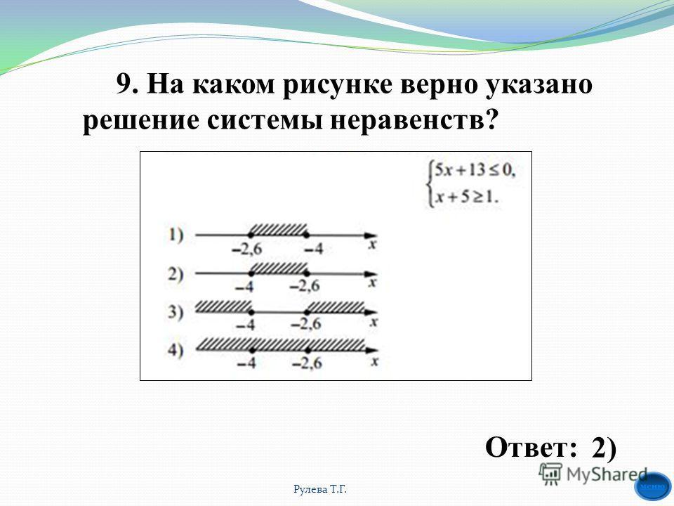 9. На каком рисунке верно указано решение системы неравенств? Ответ: 2) Рулева Т.Г.