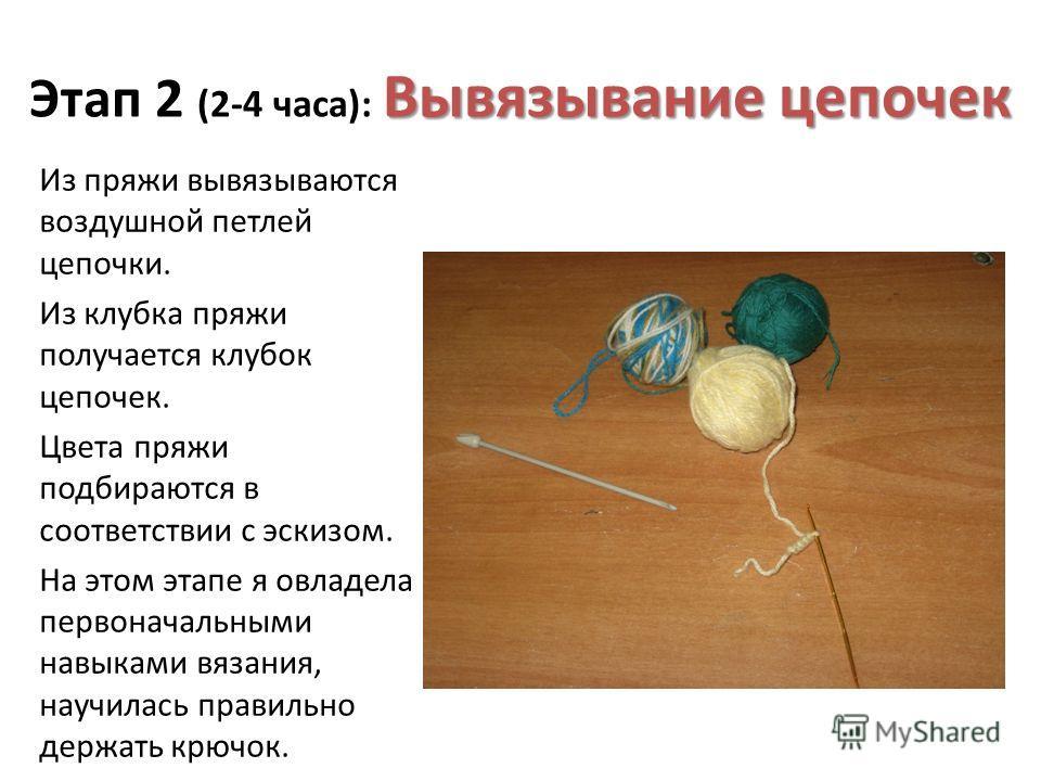 Вывязывание цепочек Этап 2 (2-4 часа): Вывязывание цепочек Из пряжи вывязываются воздушной петлей цепочки. Из клубка пряжи получается клубок цепочек. Цвета пряжи подбираются в соответствии с эскизом. На этом этапе я овладела первоначальными навыками