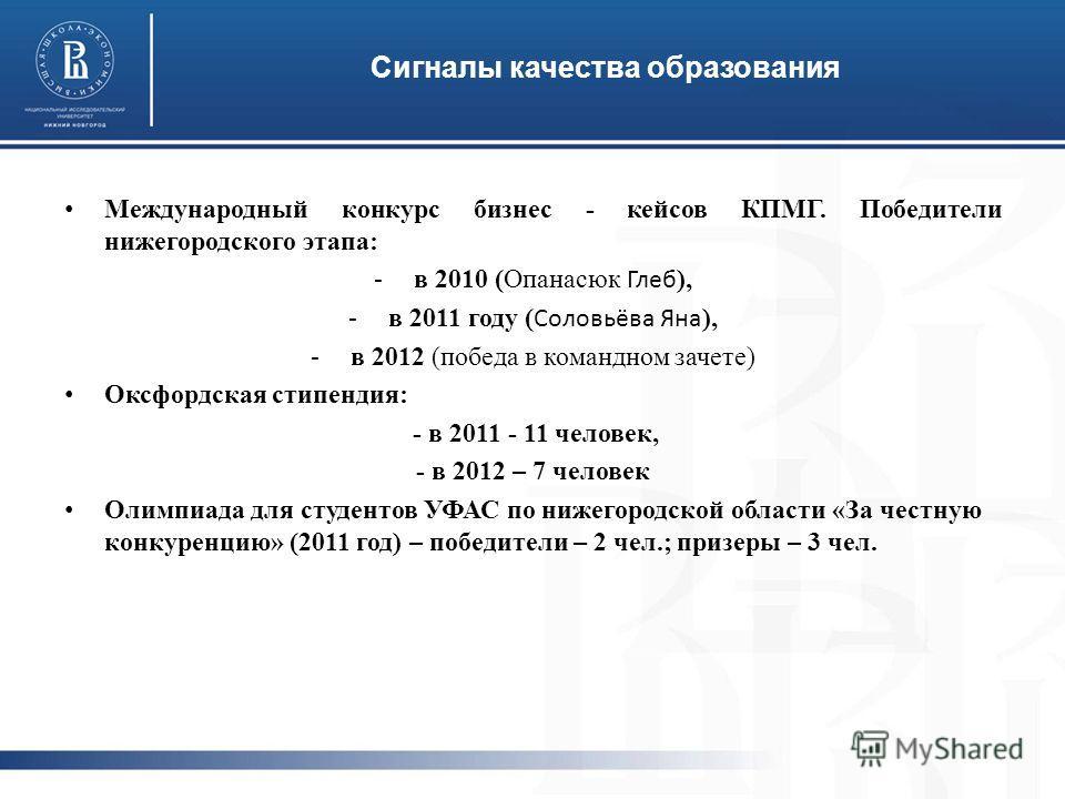 Международный конкурс бизнес - кейсов КПМГ. Победители нижегородского этапа: -в 2010 (Опанасюк Глеб ), -в 2011 году ( Соловьёва Яна ), -в 2012 (победа в командном зачете) Оксфордская стипендия: - в 2011 - 11 человек, - в 2012 – 7 человек Олимпиада дл