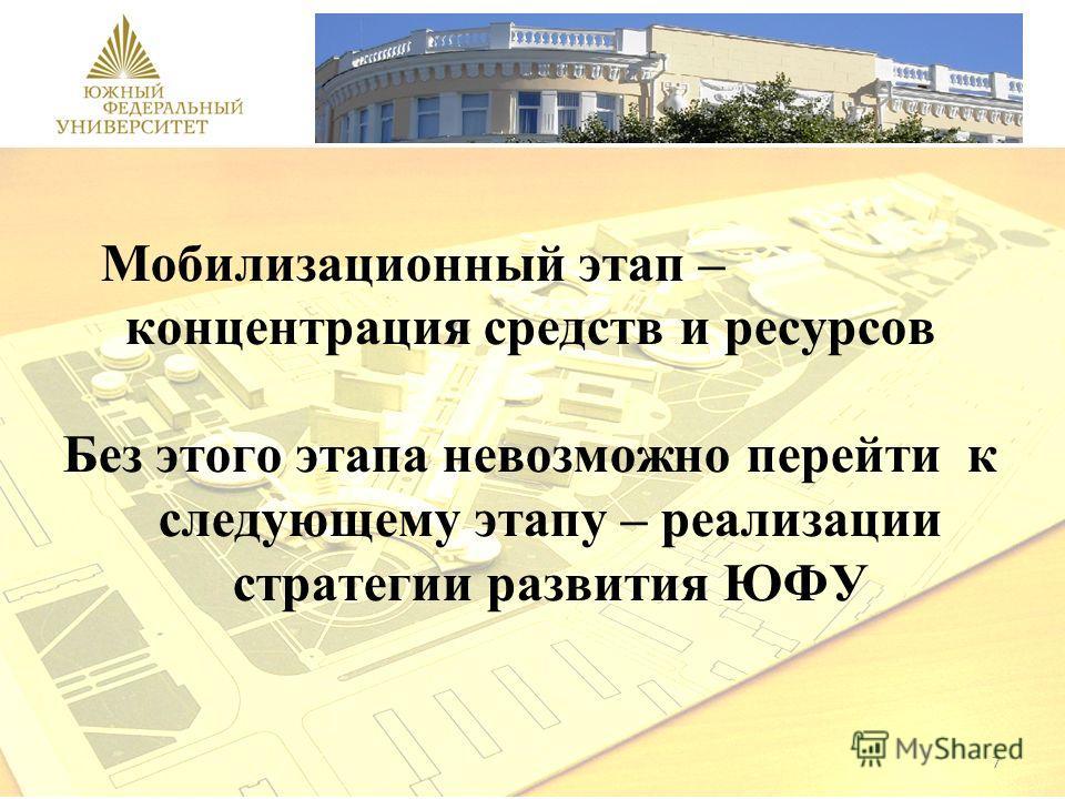 7 Мобилизационный этап – концентрация средств и ресурсов Без этого этапа невозможно перейти к следующему этапу – реализации стратегии развития ЮФУ
