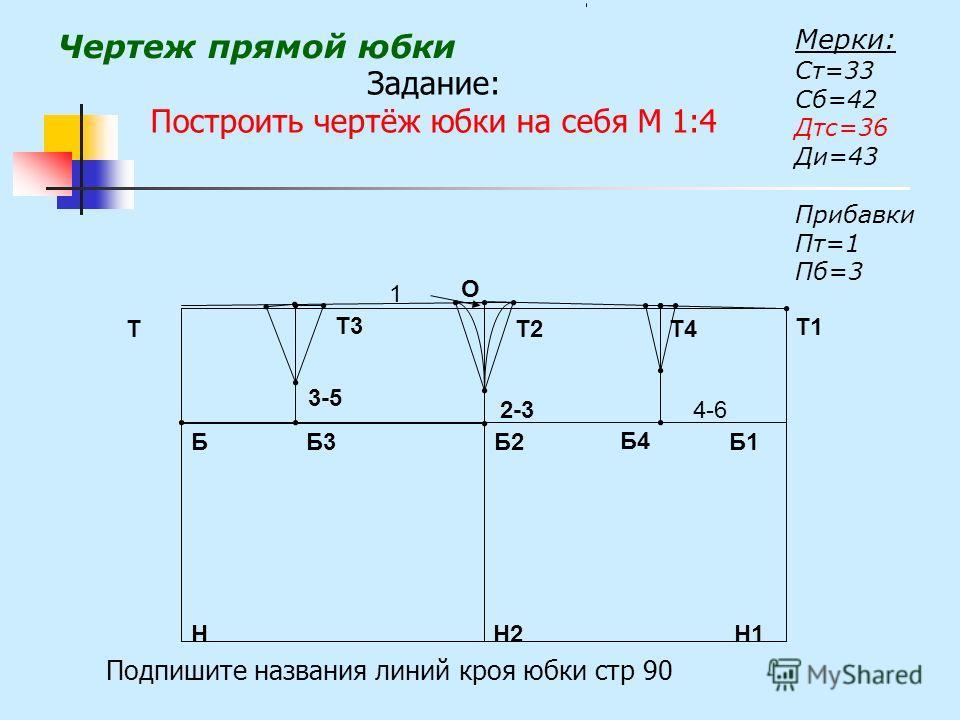 Чертеж прямой юбки Мерки: Ст=33 Сб=42 Дтс=36 Ди=43 Прибавки Пт=1 Пб=3 Н1 Т1 Н Т ББ1Б2 Н2 Т2 О 2-34-6 1 Б3 Б4 3-5 Т3 Т4 Подпишите названия линий кроя юбки стр 90 Задание: Построить чертёж юбки на себя М 1:4