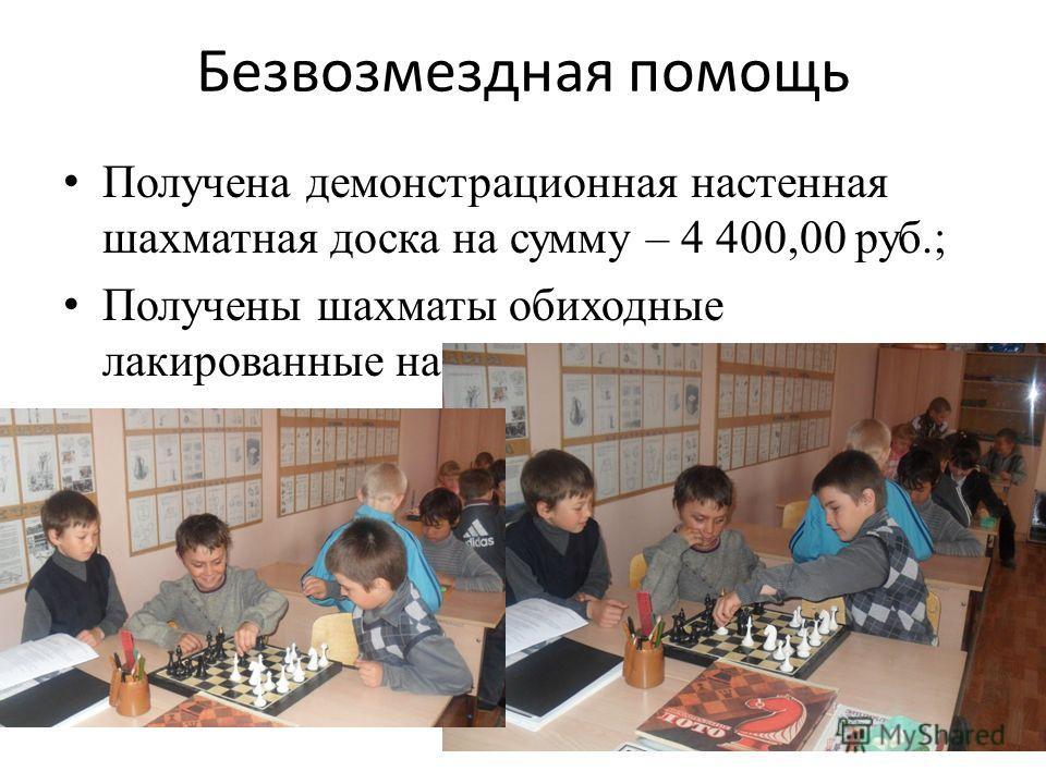 Безвозмездная помощь Получена демонстрационная настенная шахматная доска на сумму – 4 400,00 руб.; Получены шахматы обиходные лакированные на сумму – 1 350,00 руб.