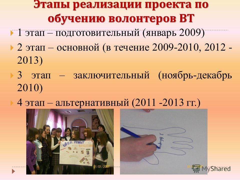 Этапы реализации проекта по обучению волонтеров ВТ 1 этап – подготовительный (январь 2009) 2 этап – основной (в течение 2009-2010, 2012 - 2013) 3 этап – заключительный (ноябрь-декабрь 2010) 4 этап – альтернативный (2011 -2013 гг.)