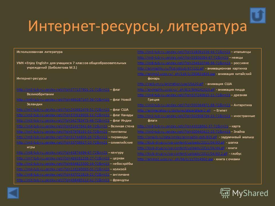 Интернет-ресурсы, литература Использованная литература УМК «Enjoy English» для учащихся 7 классов общеобразовательных учреждений (Биболетова М.З.) Интернет-ресурсы http://im5-tub-ru.yandex.net/i?id=377137901-21-72&n=21http://im5-tub-ru.yandex.net/i?i