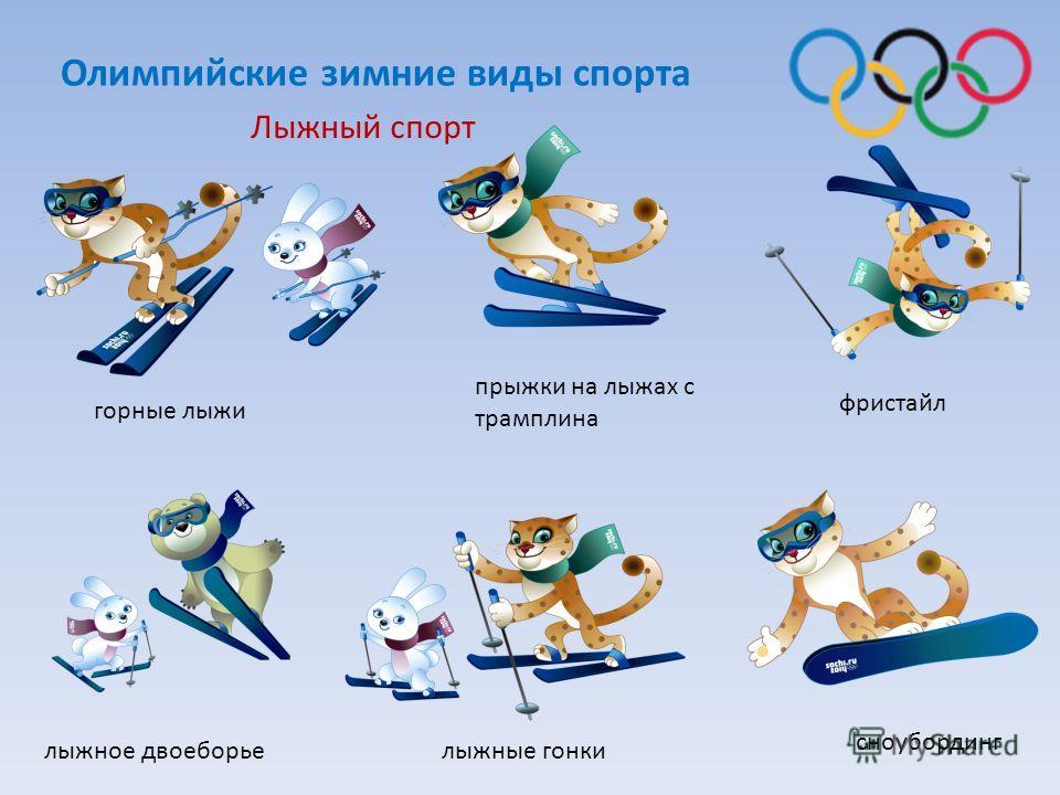 Лыжный спорт фристайл сноубординг лыжное двоеборье прыжки на лыжах с трамплина горные лыжи лыжные гонки Олимпийские зимние виды спорта