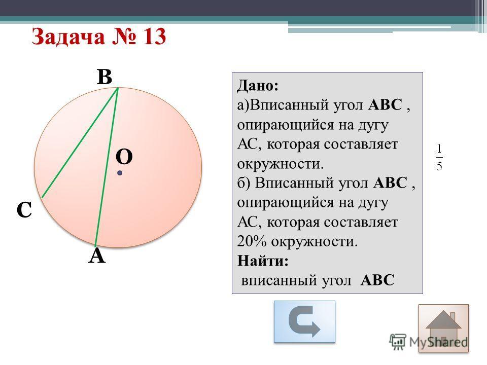 Задача 13 А С О В Дано: a)Вписанный угол АВС, опирающийся на дугу АС, которая составляет окружности. б) Вписанный угол АВС, опирающийся на дугу АС, которая составляет 20% окружности. Найти: вписанный угол АВС