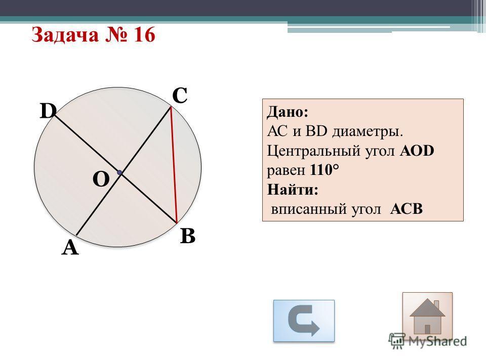 Задача 16 А С О D В Дано: АС и ВD диаметры. Центральный угол АОD равен 110° Найти: вписанный угол АСВ