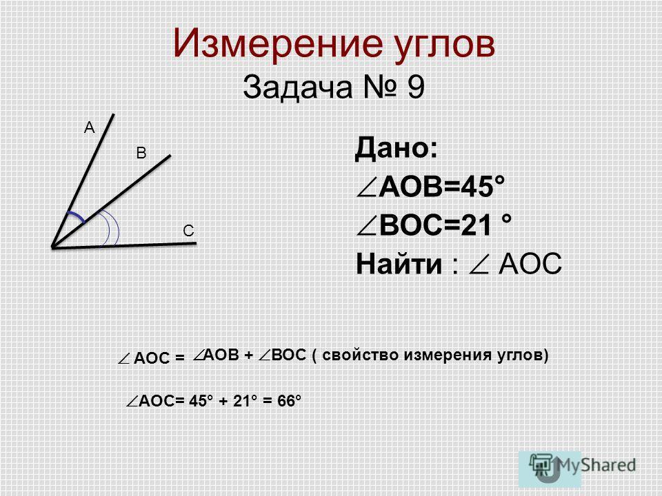 Измерение углов Задача 9 Дано: АОВ=45° ВОС=21 ° Найти : AОC А В С AОC = АОВ + ВОС ( свойство измерения углов) АОС= 45° + 21° = 66°